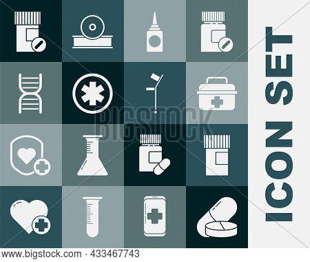 Set Medicine Pill Or Tablet, Bottle, First Aid Kit, Bottle Nasal Spray, Medical Symbol Of The Emerge