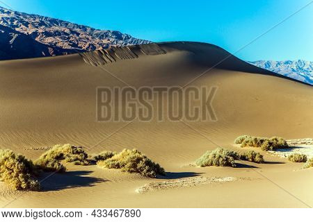 Dunes illuminated by orange sunset. USA. Magic play of light on the sand. Mesquite Flat Sand Dunes is part of Death Valley in California. The concept of ecological and photo tourism