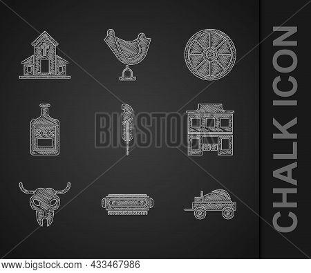 Set Feather Pen, Harmonica, Wild West Covered Wagon, Saloon, Buffalo Skull, Whiskey Bottle, Old Wood