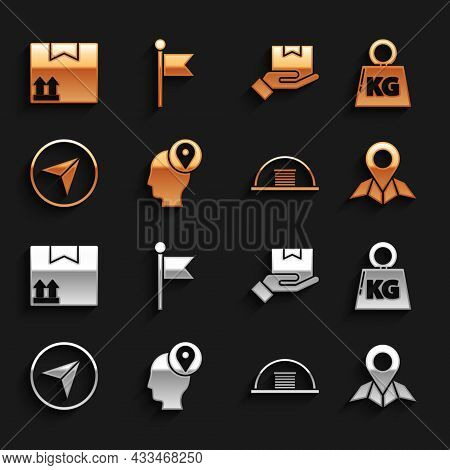 Set Delivery Man With Cardboard Boxes, Weight, Placeholder On Map Paper, Hangar, Infographic Of City