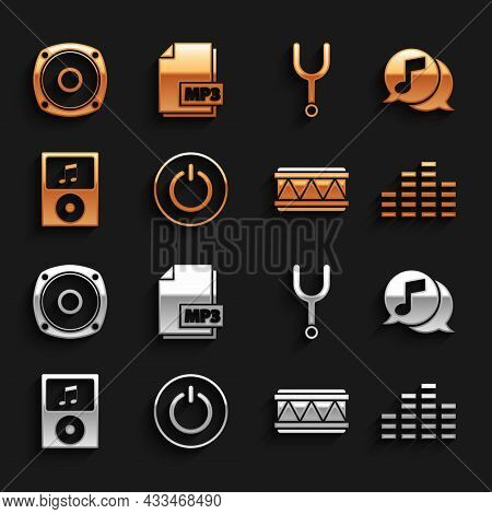 Set Power Button, Musical Note In Speech Bubble, Equalizer, Drum, Player, Tuning Fork, Stereo Speake