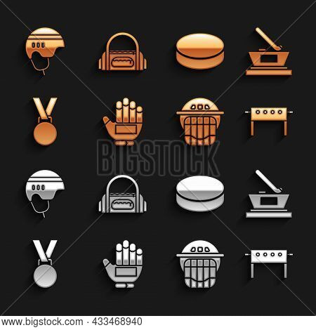 Set Hockey Glove, Ice Hockey Cup Champion, Table, Helmet, Medal, Puck, And Sport Bag Icon. Vector