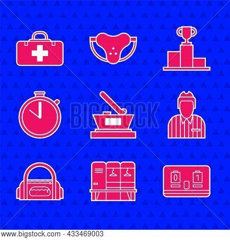 Set Ice Hockey Cup Champion, Locker Or Changing Room, Hockey Mechanical Scoreboard, Judge, Referee,