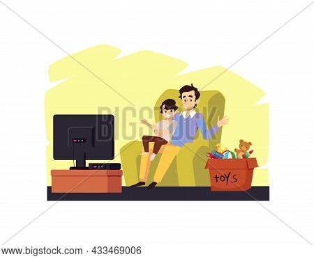 Father And Son Spending Time Together Talking, Flat Vector Illustration Isolated.
