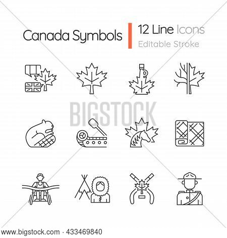 Canadian Symbols Linear Icons Set. Official Canadian Emblem. North American Beaver. Ice Hockey. Cust