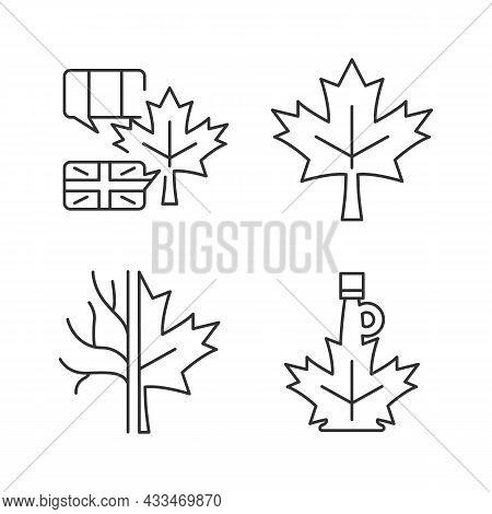 Maple Leaf Significance Linear Icons Set. National Emblem Of Canada. Maple Leaf Symbol. Customizable