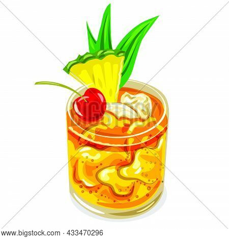 Illustration Of The Mai Tai Cocktail With Ice, Cherry And Pineapple