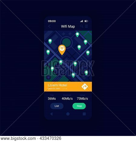 Wifi Hotspot Location Map App Smartphone Interface Vector Template. Mobile App Page Design Layout. W