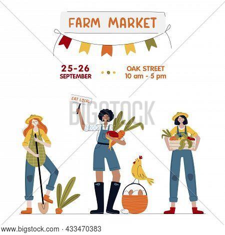 Farm Market Banner. Farmer Women In Modern Style. Harvest Festival Or Eat Local Concept. Girl Power.