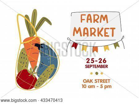 Farm Market Poster, Banner. Eco String Bag With Vegetables In Modern Style. Harvest Festival Or Eat