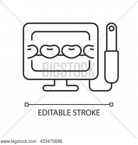Intraoral Camera Linear Icon. Oral Health Condition Diagnosis. Capturing Teeth Video Image. Thin Lin