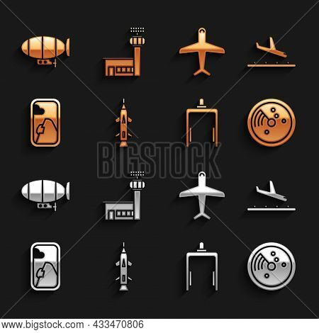 Set Rocket, Plane Landing, Radar With Targets On Monitor, Metal Detector Airport, Airplane Window, A