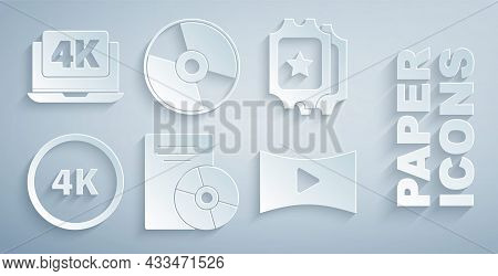 Set Cd Or Dvd Disk, Cinema Ticket, 4k Ultra Hd, Online Play Video, And Laptop With Icon. Vector