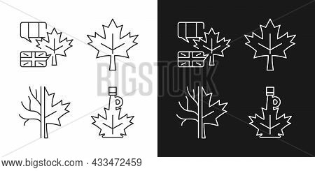 Maple Leaf Significance Linear Icons Set For Dark And Light Mode. National Emblem Of Canada. Maple L