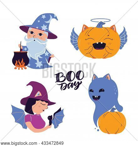 The Set Of Cartoon Ghost, Wizard, Witch And Pumpkin With Text Boo Day. The Collection Magic Baby Cha