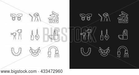 Dental Visit Linear Icons Set For Dark And Light Mode. Orthodontic Appliances. Tooth Extraction. X-r