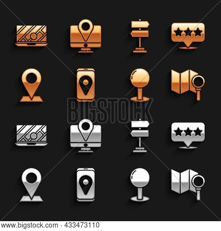 Set City Map Navigation, Map Pointer With Star, Search Location, Push Pin, Location, Road Traffic Si