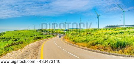 Wind Turbines On Mount Gilboa, Israel. Lower Galilee, Beautiful nature of Israel, Holy Land, Panoramic View
