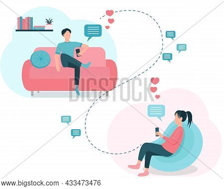 Virtual Love Copcent Vector Illustration. A Man And A Woman Are Chatting, Sending Messages And Love