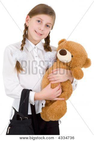 Schoolgirl With Bear