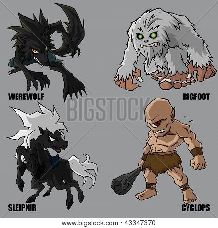 poster of 4 Graphic vector set of mythical creatures