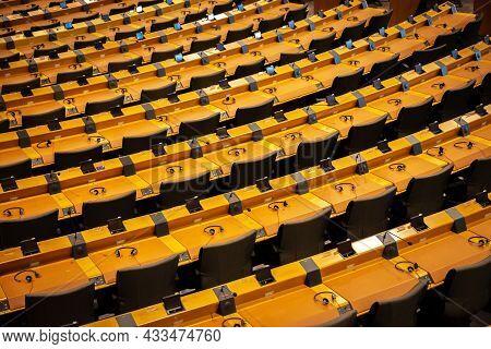 The Eu European Parliament Room In Brussels. Belgium - July 30, 2014.