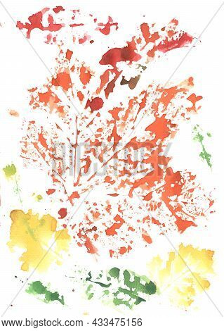 Colorful Green, Yellow, Orange Background Painted By Brush With Imprinted Leaves Pattern. Gouache Pa