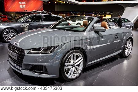 Audi Tt Roadster Cabriolet Sports Car Presented At The Brussels Expo Autosalon Motor Show. Belgium -