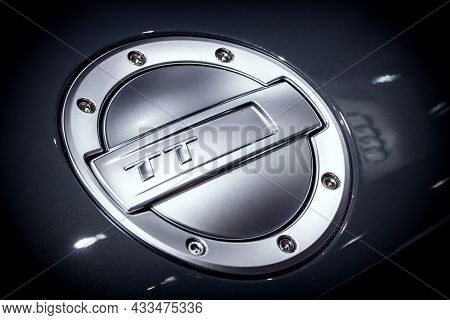 Gas Cap On The Audi Tt Sports Car Presented At The Brussels Expo Autosalon Motor Show. Belgium - Jan