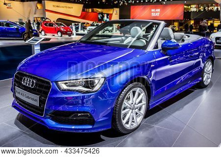 Audi A3 Cabriolet Car Presented At The Brussels Expo Autosalon Motor Show. Belgium - January 12, 201