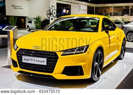Audi Tt S Coupe Sports Car Showcased At The Brussels Expo Autosalon Motor Show. Belgium - January 12