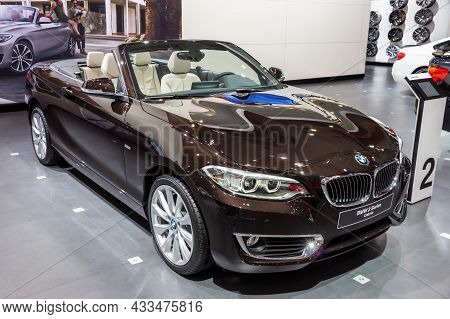 Bmw 2 Series Cabrio Car Showcased At The Brussels Expo Autosalon Motor Show. Belgium - January 12, 2