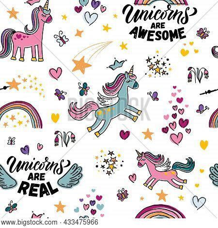 Hand Sketched Unicorn Vector Illustration Endless Pattern With Lettering Typography Quotes. Motivati