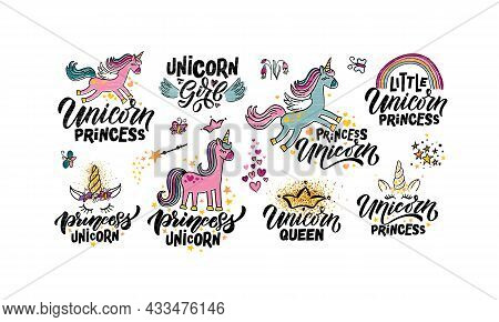 Hand Sketched Unicorn Vector Illustration Patterns With Lettering Typography Quotes. Motivational Qu