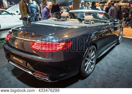 Mercedes Amg S-class Convertible Car Showcased At The Brussels Expo Autosalon Motor Show. Belgium -
