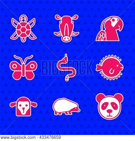 Set Snake, Hedgehog, Cute Panda Face, Puffer Fish, Sheep Head, Butterfly, Macaw Parrot And Turtle Ic