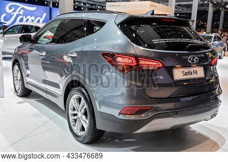 Hyundai Santa Fe Car Showcased At The Brussels Expo Autosalon Motor Show. Belgium - January 19, 2017