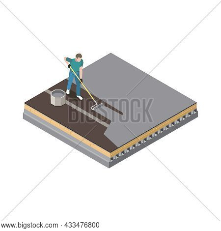 Isometric Roofing Icon With Man Doing Waterproof Roof Coating Vector Illustration