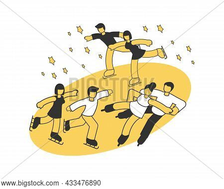 Three Pairs Participating In Ice Skating Competition Isometric Composition Vector Illustration