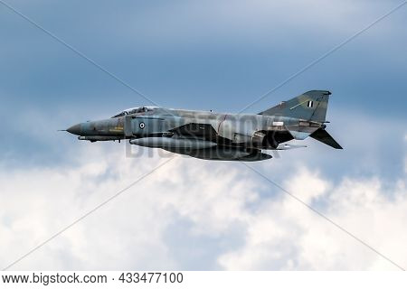 Greek Hellenic Air Force F-4e Phantom Ii Fighter Jet In Flight Over Florennes Air Base, Belgium - Ju