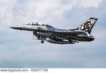 Special Livery Belgian Air Force F-16b Dual Seater Fighter Jet Taking Off From Florennes Air Base. B