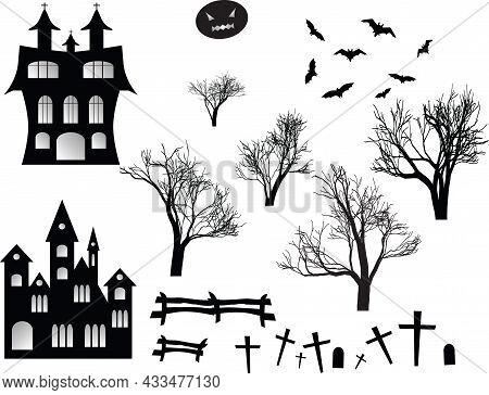 Halloween Spooky Black Silhouettes. Vector Icons For Halloween Invitation Card Or Halloween Party Po