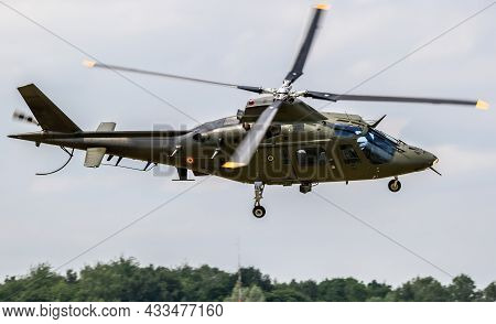 Belgian Air Force Agusta A109 Helicopter At Florennes Air Base, Belgium - June 15, 2017