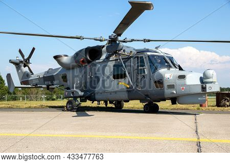 British Royal Navy Agustawestland Aw159 Wildcat Helicopter On The Tarmac Of Nordholz Airbase. German
