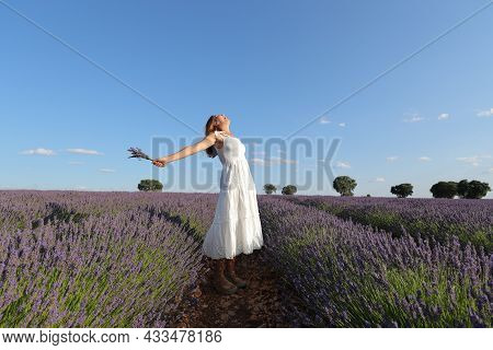 Full Body Portrait Of A Happy Woman Outstretching Arms Holding Bouquet In Lavender Field