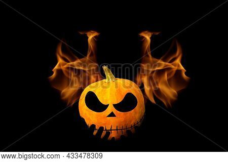 Silhouette Man Holding Halloween Pumpkin Head. Dark Black Hell Fire Flame Background. Halloween Holi