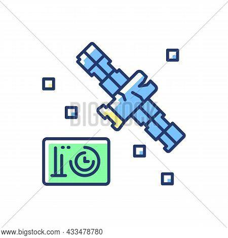 Satellite Condition Blue, Green Rgb Color Icon. Artifial Satelite Breakdown. Satellite Status Inform