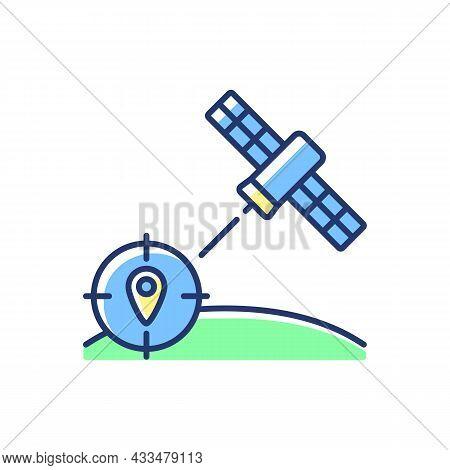 Navigation Satellite Blue Rgb Color Icon. Satellite-based Radionavigation System. Gps Positioning. T