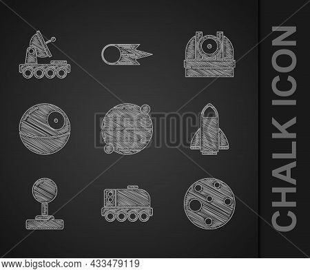 Set Planet, Mars Rover, Rocket Ship, Joystick, Death Star, Astronomical Observatory And Icon. Vector