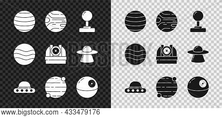 Set Planet Venus, Joystick, Ufo Flying Spaceship, Death Star, And Astronomical Observatory Icon. Vec
